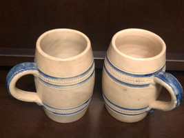 "Antique Salt Glazed B&D Stoneware Mugs 4-3/4"" NO2 Blue Trim Set of 2 - $34.83"