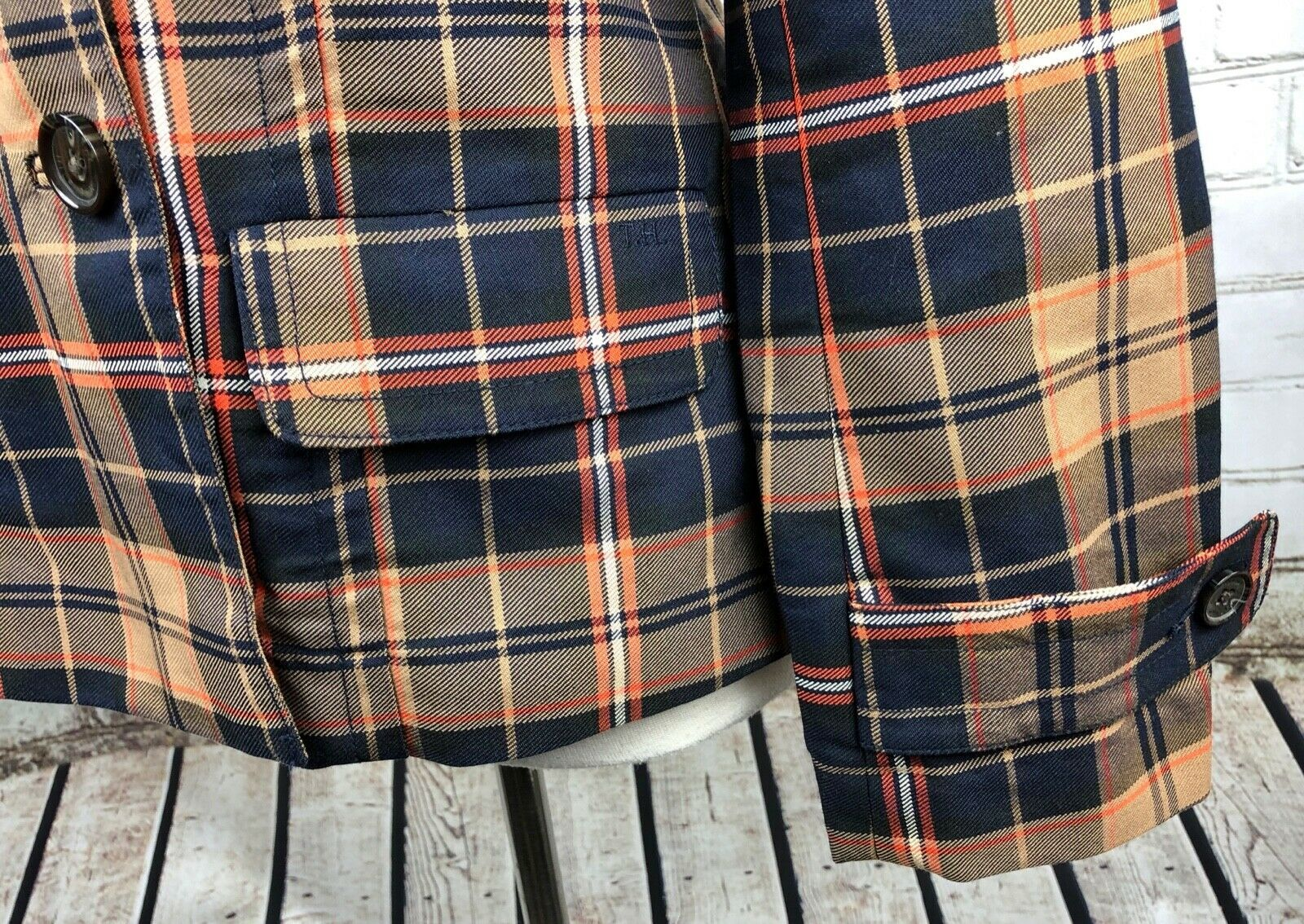 Tommy Hilfiger Jacket Plaid Lightweight Pea Coat Trench Fall Plaid Cotton Size M image 3