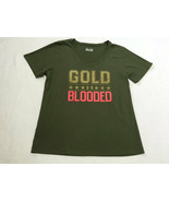 Under Armour XL Army Green Pink Gold Blooded Shirt Semi Fitted Womens - $14.99