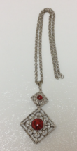 Sarah Coventry Vintage 1978 Inca Fire Red Pendant Necklace and Brooch Set  - $29.99
