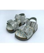 NEW Morgan & Milo Toddler Girls 8 Silver Sparkle Bayou Footbed Sandals R... - $12.99