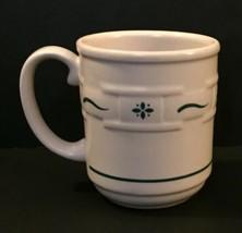 Longaberger Green Woven Traditions Mug Coffee Cup Heavyweight Dishwasher Safe - $16.33