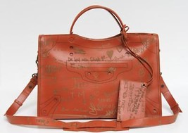 New $2995 Balenciaga Large City Black Out AJ Leather Love Veau Effect  Bag - $2,448.04