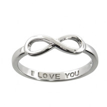 Sterling Silver 14k White Gold I Love You Infinity Ring All Sizes Available - £11.89 GBP
