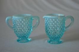 Fenton Blue Opalescent Hobnail  Creamer & Sugar #389 - $19.80