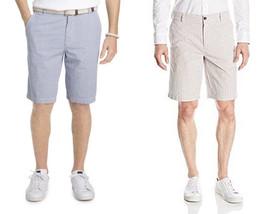 IZOD Mens Shorts Seersucker Blue White Khaki White Flat Front 30 32 36 3... - $21.24