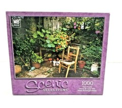 """MB Scenic Selections 1000 Piece Puzzle My Corner Garden 18""""x 24"""" NEW SEALED - $14.95"""