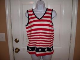 Liz Claiborne Stars and Stripes Knit Shirt Size M Women's EUC - $22.25