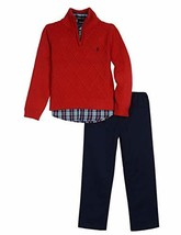IZOD Kids Boys' 3-Piece Sweater, Dress Shirt, and Pants Set (4T|Red Otto) - $34.63