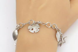925 Sterling Silver - Vintage Star Fish Sea Shell Charmed Chain Bracelet... - $63.82