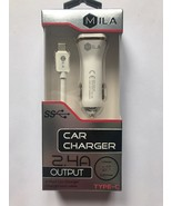 Mila 2.4A Dual USB Car Charger & Type-C Cable - $9.50