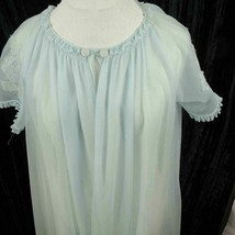 Lorraine Small Peignoir Sheer Baby Blue Chiffon Short Sleeve Lace Arm Vi... - $24.74
