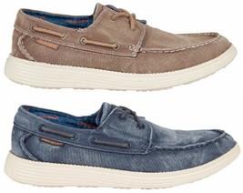 Nuevo Skechers Mencanvas Zapatos Náuticos Vintage Lavado Azul y Marrón Pack Size - $43.12