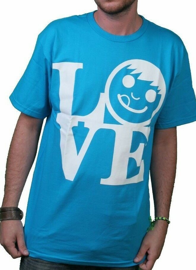 Neff Uomo Blu Turchese Love Statua Ciuccio Viso T-Shirt W11316 Nwt