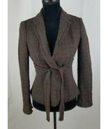 Moschino Cheap&Chic women 4 brown fringe trimmed wool tied front blazer ... - $79.20