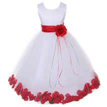 White Satin Bodice Layers Tulle Skirt Red Sash Flower Ribbon Brooch and Petals - $48.00