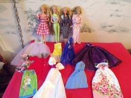 LOT of 4 Vintage Barbies with misc. clothes - $19.80