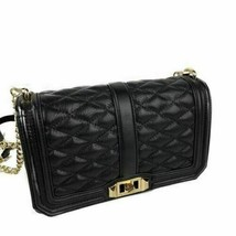 Rebecca Minkoff Love Crossbody Diamond Pattern Quilted Leather Black With Gold H - $179.99