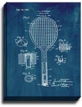 Tennis Racket Patent Print Midnight Blue on Canvas - $39.95+