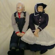 "Grandma and Grandpa Dolls Large 32"" 1989 Glasses William Wallace Jr  Vin... - $230.22"