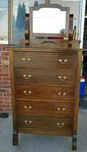Antique Rare Old Highboy Chest, Circa 1940's~Mahogany, Beech, Maple and ... - $693.00