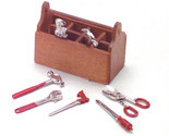 Dollhouse Miniature - Wood Tool Box with Removable Metal Tools