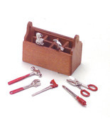 Dollhouse Miniature - Wood Tool Box with Removable Metal Tools - $7.99