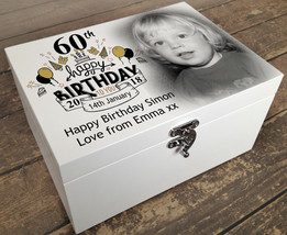 Personalised wooden memory keepsake box, your photo/text printed 60th bi... - $32.06+