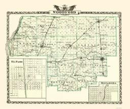 Woodford Illinois Landowner - Warner 1870 - 23 x 27.47 - $36.95+