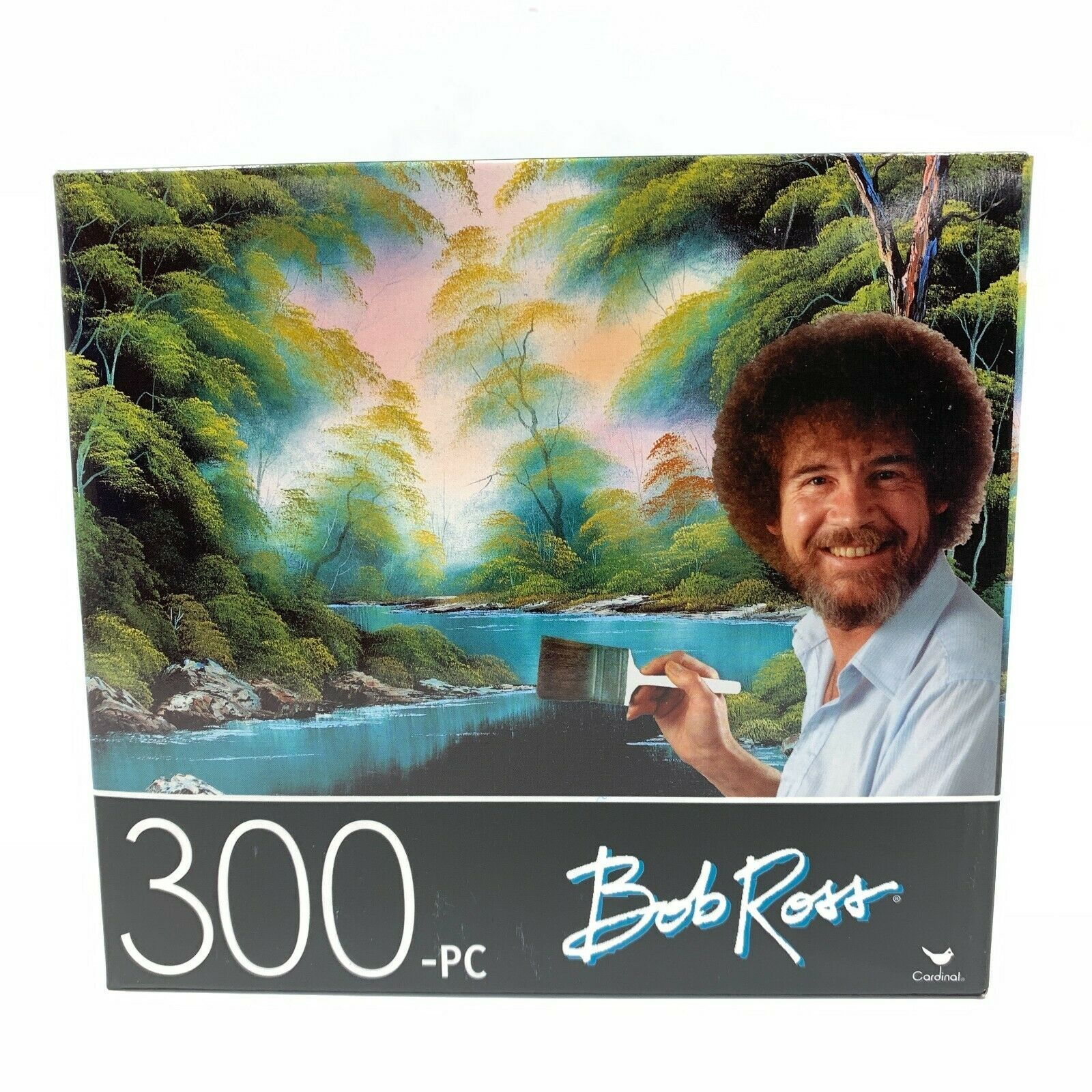 Bob Ross Deep Forest Lake Painting 300 Piece Puzzle 14 x 11 Happy Little Trees - $9.99