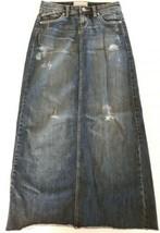 Maurices Denim Jean Skirt Size 1/2 Long Modest Distressed Back Slit - $46.99