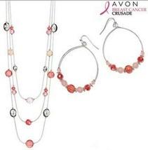 Avon Breast Cancer Hoop Earrings & Illusion Necklace - $14.85+