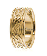 10K SOLID YELLOW GOLD MENS 9MM CELTIC WEDDING BAND RING MANS CELTIC WEDD... - $565.82