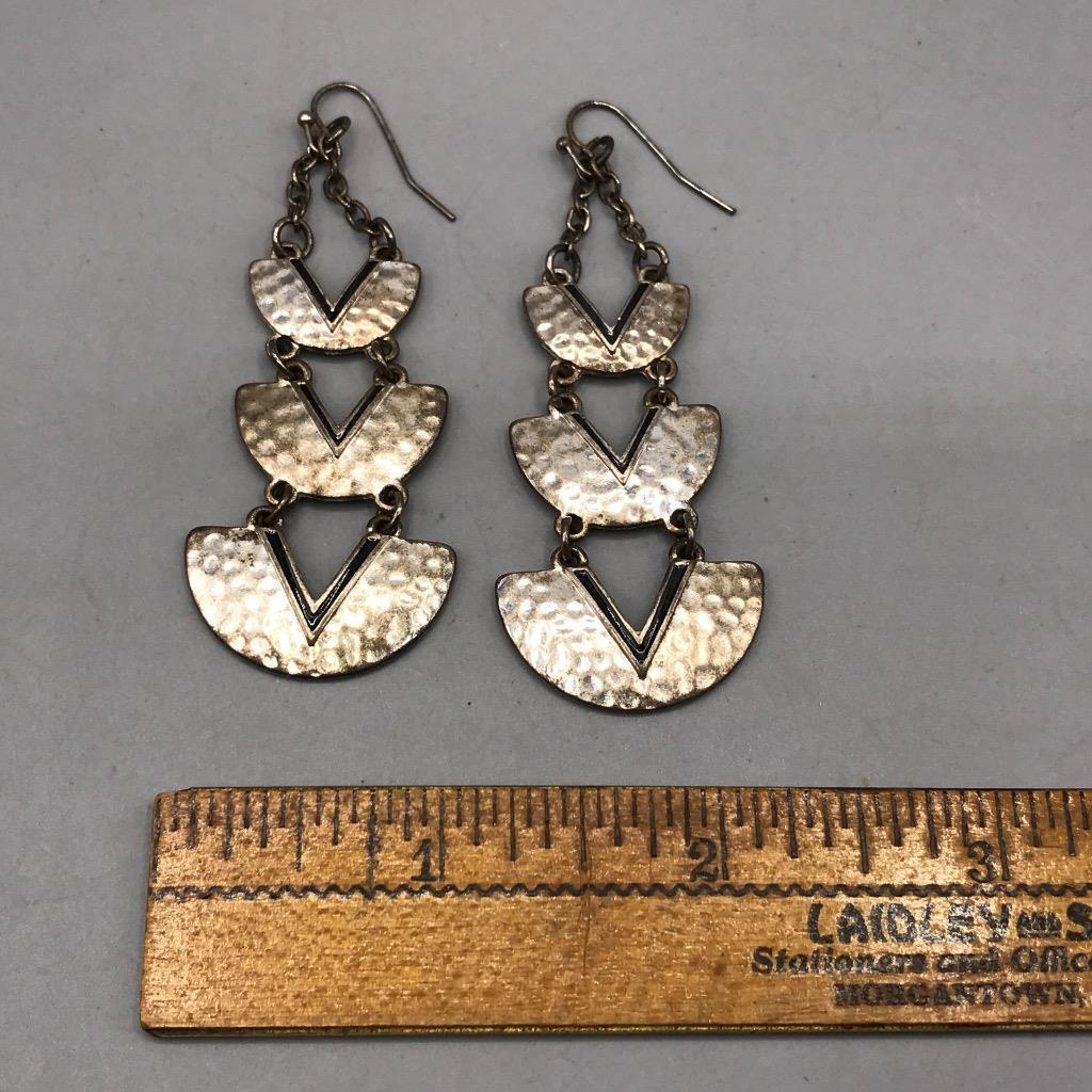 Vintage Silver Tone Dangle Pierced Earrings
