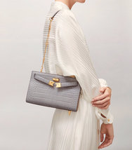 Tory Burch Lee Radziwill Shoulder Bag Grey Authentic - $499.00