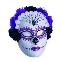 Underwraps Día de los Muertos Calavera Araña Rosas Máscara Halloween Tra... - $21.03