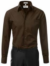 Berlioni Italy Men's Long Sleeve Solid Regular Fit Brown Dress Shirt - M image 2
