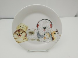 "Pier 1 One Imports Dogs & Cats Side Salad Plate 8.75"" Puppies Kittens He... - $11.17"