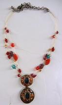 CHICO'S Gold Tone Multi Wire Necklace Dangle Colorful Jewel Pendant - $16.99