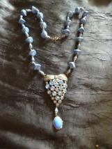 Art Deco Egyptian Revival Blue Glass Bead Rhinestones Scarab Vintage Necklace - $23.22