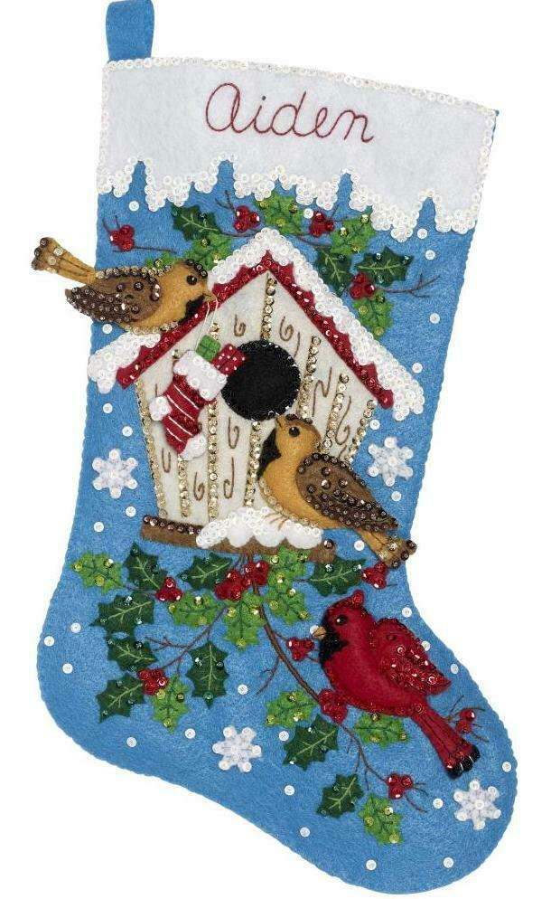 Primary image for Bucilla Christmas Birds Cardinal Holiday Birdhouse Felt Stocking Kit 86944E