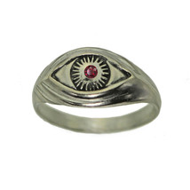 Celtic Absorb Evil Eye convert positive Spiritual Garnet ring Sterling S... - $30.58