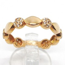 18K ROSE GOLD BAND RING, CUBIC ZIRCONIA, ALTERNATE FLOWERS AND PETALS image 1