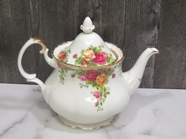 1962 ROYAL ALBERT Old Country Roses Teapot Lid Large 6-8 Cups Tea Pot Go... - $57.42