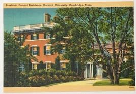 Old Linen Era Postcard President Conant Residence Harvard University Cam... - $11.75
