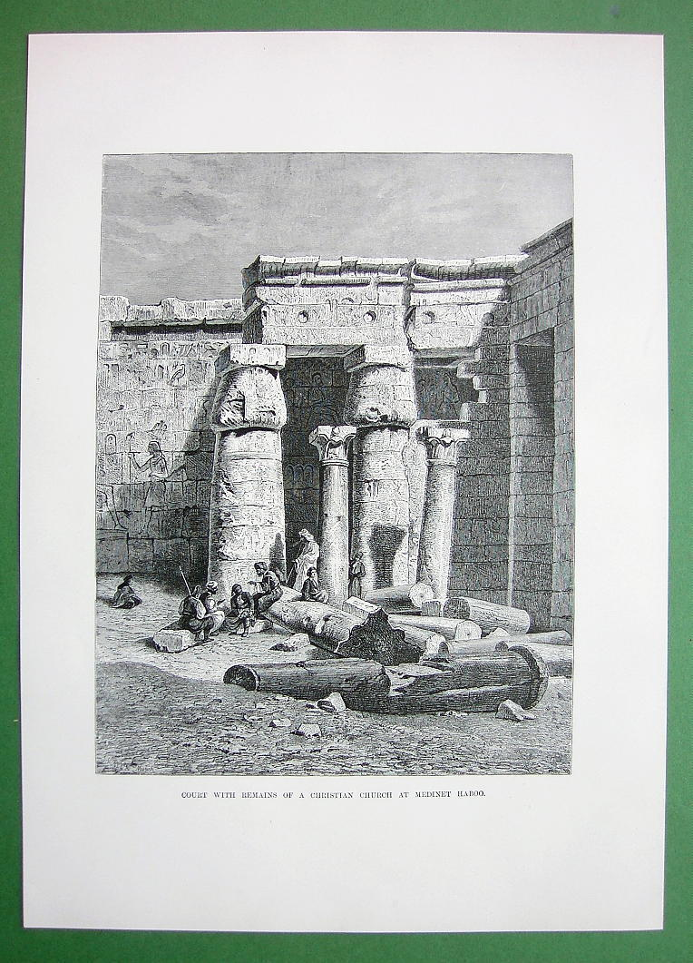 EGYPT Court of Temple at Medinet Haboo - Antique Print Engraving