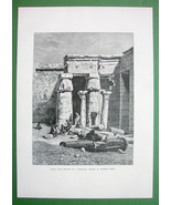 EGYPT Court of Temple at Medinet Haboo - Antique Print Engraving - $13.77