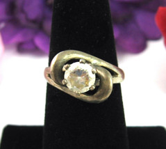 Rhinestone SOLITAIRE RING Vintage STERLING SILVER 2 Loop BRILLIANT RS Si... - $16.99
