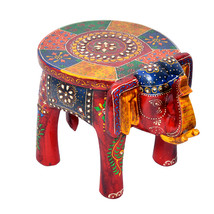 "Multi Color Wooden With Stone Home Decor Stool Elephant Baby Sitter Stool 8"" - $48.99"