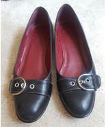 Coach Brett black leather flats Size 7 width B Buckle detail - $22.00